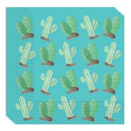 Kaktusz Mintás Parti Mintás Szalvéta - 33 cm x 33 cm, 20 db-os