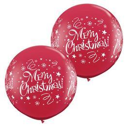 3 feet-es Merry Christmas! Festive Ruby Red Karácsonyi Lufi (2 db/csomag)
