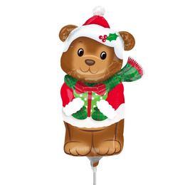 Karácsonyi Maci - Christmas Bear Mini Shape Fólia Lufi (5 db/csomag)
