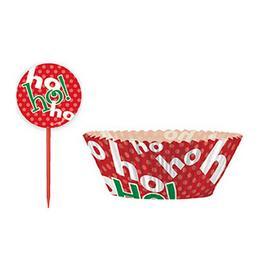 Karácsonyi Ho-Ho-Ho Feliratú Muffin Tartó Forma És Falatka Pálcika - 48 db-os
