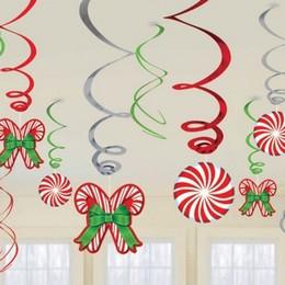 Karácsonyi Nyalóka Mintás Függő Spirális Dekoráció - 12 db-os