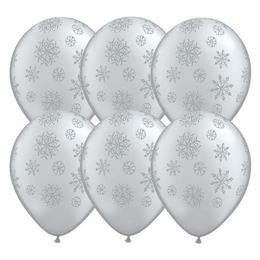 11 inch-es Glitter Snowflakes-A-Round Silver (Metallic) Lufi (25 db/csomag)