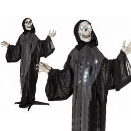 Kaszás Csontváz Dekoráció Fénnyel és Hanggal Halloween-re, 153 cm-es