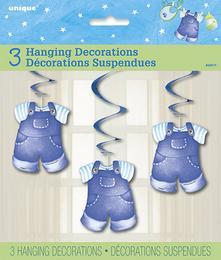 Kék Bébiruhák Spirális Függő Dekoráció - 66 cm, 3 db-os