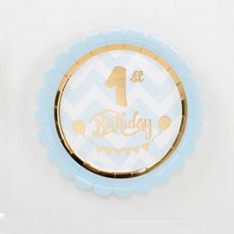 Kék 1st Birthday - Első Szülinapi Parti Tányér - 18 cm, 8 db-os