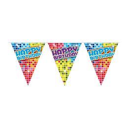 Színes Kockás Happy Birthday Szülinapi Mini Zászlófüzér