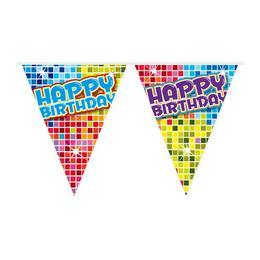 Színes Kockás Happy Birthday Szülinapi Zászlófüzér