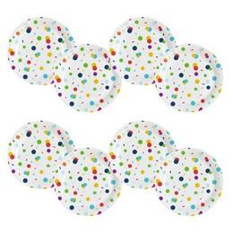 Konfetti Mintás - Confetti Birthday Parti Tányér - 23 cm, 8 db-os