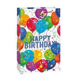 Nagy - Léggömb Mintás Happy Birthday Szülinapi Jumbo Ajándéktasak