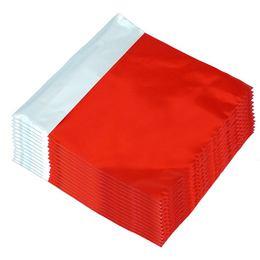 Lezárható Metál Fényes Piros Ajándéktasak - 18 cm x 15 cm, 50 db/csomag