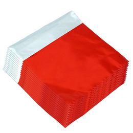 Lezárható Metál Fényes Piros Ajándéktasak - 30 cm x 30 cm, 50 db/csomag