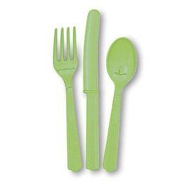 Lime Green Műanyag Parti Evőeszköz Válogatás - 18 db-os