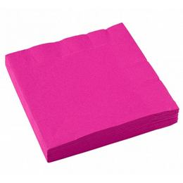 Magenta Pink Papír Parti Szalvéta - 33 cm x 33 cm, 20 db-os