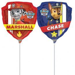 Mancs Őrjárat - Paw Patrol Chase & Marshall LMini Shape Fólia Lufi (5 db/csomag)
