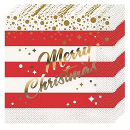 Merry Christmas Karácsonyi Szalvéta  - 33 cm x 33 cm, 16 db-os