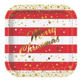 Merry Christmas Karácsonyi Tányér - 22 cm, 8 db-os