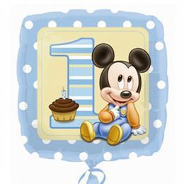 17 inch-es Mikiegér - Mickey First Birthday Boy - Első Szülinapi Fólia Lufi