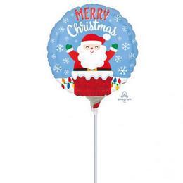 Santa in Chimney Christmas - Mikulás Kéményben Karácsonyi Mini Shape Fólia Lufi -5 db