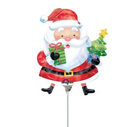 Mikulás Ajándékokkal - Santa with Tree Mini Shape Fólia Lufi (5 db/csomag)
