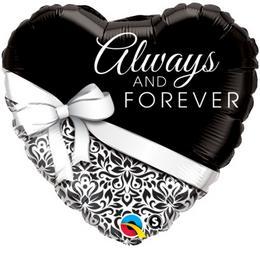 18 inch-es Always and Forever Esküvői Szív Fólia Lufi