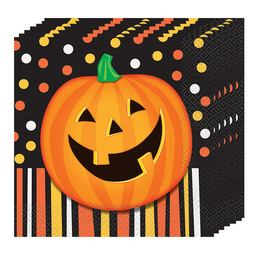 Mosolygó Tök Halloween Parti Szalvéta - 33 cm x 33 cm, 16 db-os
