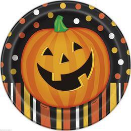 Mosolygó Tök Halloween Parti Tányér - 22 cm, 8 db-os