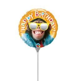 9 inch-es Happy Birthday Smile Csimpánz Napszemüvegben Fólia Lufi (5 db/csomag)
