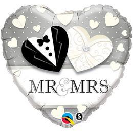 18 inch-es Mr. & Mrs. Wedding Esküvői Szív Fólia Lufi