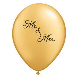 11 inch-es Mr. & Mrs. Feliratú Gold Esküvői Lufi (6 db/csomag)