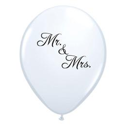 11 inch-es Mr. & Mrs. Feliratú White Esküvői Lufi (6 db/csomag)