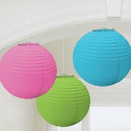 Multi - Kék, Pink és Zöld Színű Parti Gömb Lampion - 24 cm, 3 db-os
