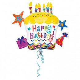 28 inch-es Happy Birthday Cupcake Star Szülinapi Super Shape Fólia Lufi