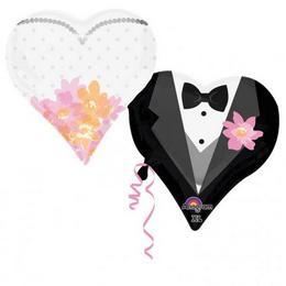Couple Hearts - Esküvői Páros Szív Alakú Super Shape Fólia Lufi