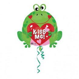 18 inch-es Kiss Me Heart Frog - Szerelmes Béka Junior Shape Fólia Lufi