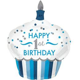 36 inch-es 1st Birthday Cupcake Boy Super Shape Fólia Lufi