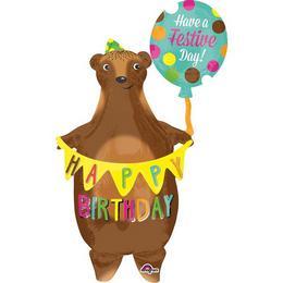 38 inch-es Birthday Bear - Szülinapi Medve Super Shape Fólia Lufi