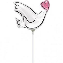 Wedding Doves - Szerelmes Galambok Esküvői Mini Shape Fólia Lufi (5 db/csomag)