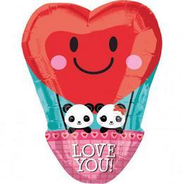Panda Love - Szerelmes Panda Macis Junior Shape Fólia Lufi