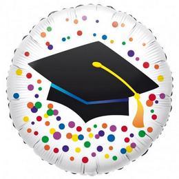 18 inch-es Diplomakalapos Színes Konfettis Graduation- Ballagási Fólia Lufi