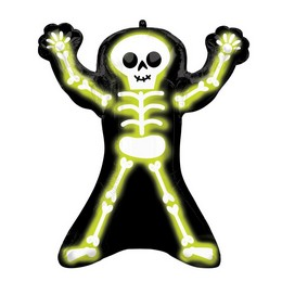 Neon Csontváz - Neon Skelly Super Shape Fólia Lufi Halloween-re