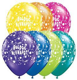 11 inch-es Boldog Névnapot Sparkling Balloons Fantasy Lufi (6 db/csomag)