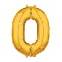 Number 0 Gold Mid Size Super Shape Számos Fólia Lufi
