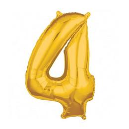Number 4 Gold Mid Size Super Shape Számos Fólia Lufi