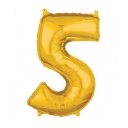 Number 5 Gold Mid Size Super Shape Számos Fólia Lufi