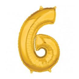 Number 6 Gold Mid Size Super Shape Számos Fólia Lufi