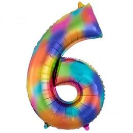 Number 6 Rainbow Super Shape Számos Fólia Lufi