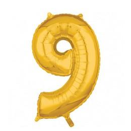 Number 9 Gold Mid Size Super Shape Számos Fólia Lufi