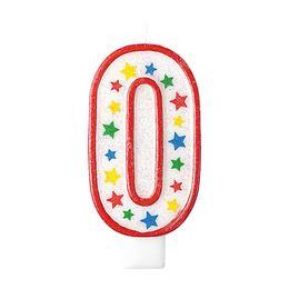 Óriás 0-ás Csillámos - Csillogó Csillag Mintás Szülinapi Parti Számgyertya