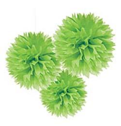 Zöld Bolyhos Függő Dekoráció - 41 cm, 3 db-os