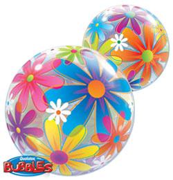 22 inch-es Színes Virágok - Fanciful Flowers Bubbles Lufi